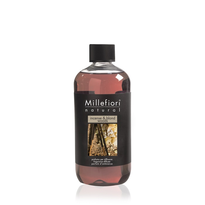 Millefiori Natural Incense & Blond Woods Diffuser 500 ml Refill