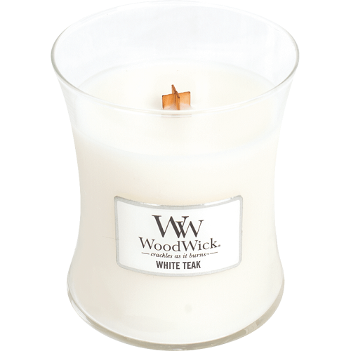 WoodWick White Teak Medium Jar Candle